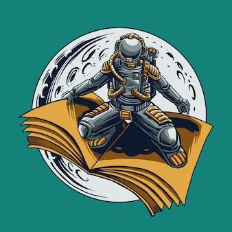 Astronout berijdt het boek