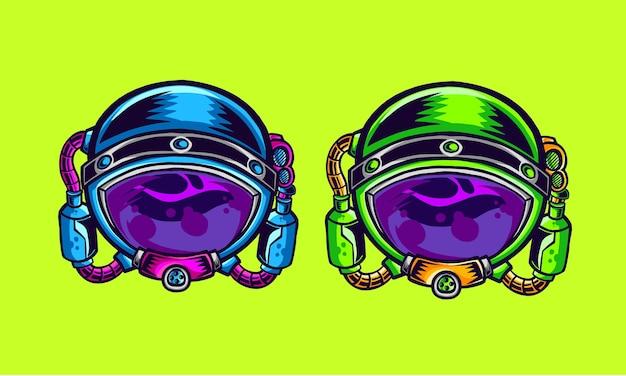 Astronout-hoofdillustratie met versie in twee kleuren