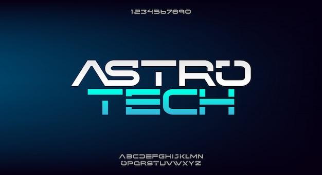 Astrotech, een abstract lettertype van het alfabet van de technologiewetenschap.