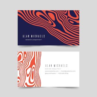 Asymmetrische rode vervormde lijnen visitekaartjes