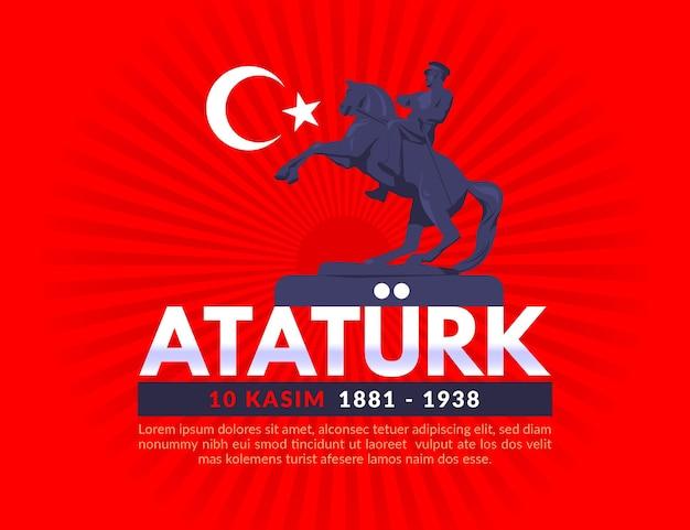 Atatürk herdenkingsdag illustratie