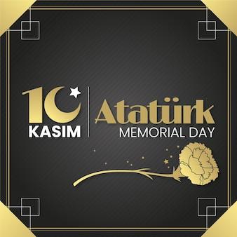 Ataturk herdenkingsdag in zwarte en gouden tinten