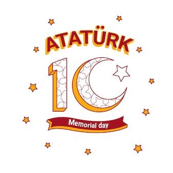 Ataturk herdenkingsdag plat ontwerp