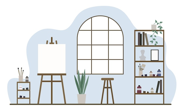 Atelier en werkplaats voor kunstenaar. kamer in klassiek interieur. plat minimaal