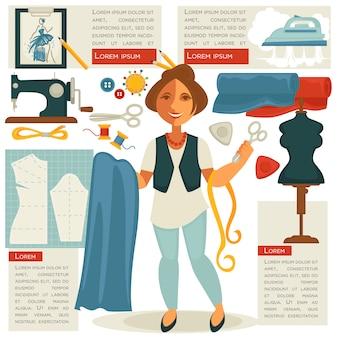 Atelier kleermaker of naaister ontwerper beroep.