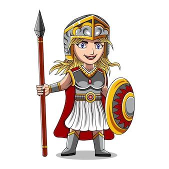 Athena chibi mascotte logo ontwerp