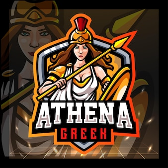 Athena griekse mascotte esport logo-ontwerp