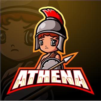Athena mascotte esport illustratie