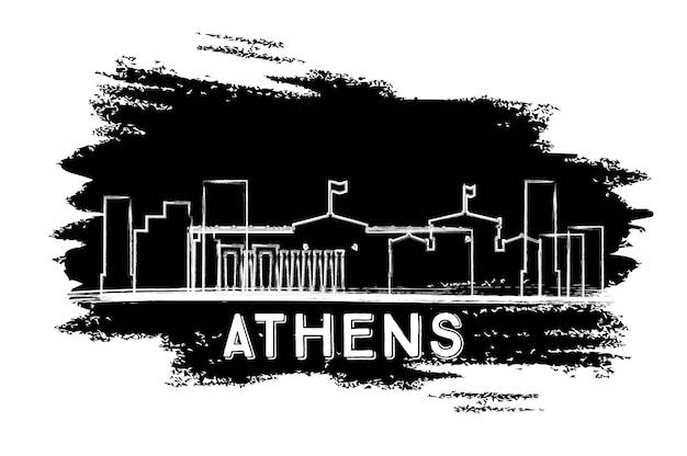 Athene skyline van silhouet. hand getekende schets. vectorillustratie. zakelijk reizen en toerisme concept met moderne architectuur. afbeelding voor presentatiebanner plakkaat en website.