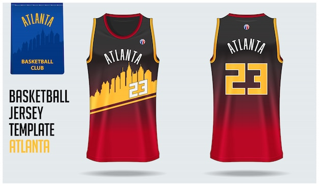 Atlanta basketbal jersey sjabloon