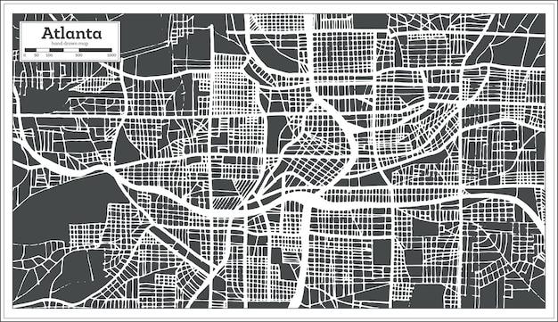Atlanta georgia usa stadsplattegrond in retro stijl. overzicht kaart. vectorillustratie.