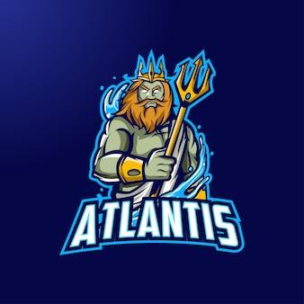 Atlantis mascot-logo voor esport en sport