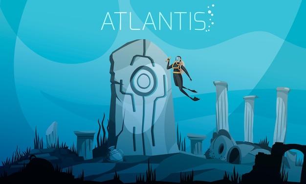 Atlantis op oceaanbodemillustratie met duiker in duikpak bij oude ruïnesachtergrond Premium Vector
