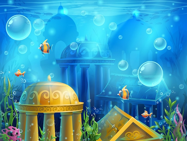 Atlantis ruïneert illustratie