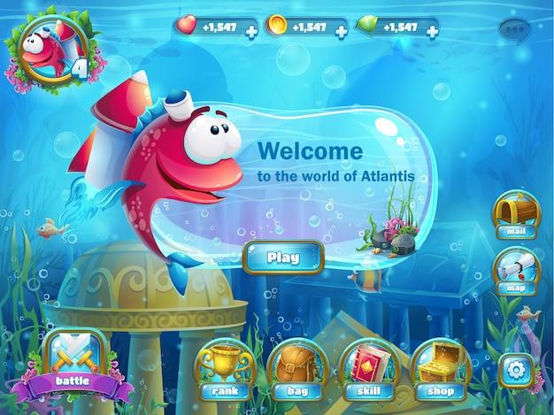 Atlantis ruïneert speelveld - vectorillustratie voor spel.