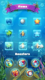 Atlantis ruïnes - vector illustratie mobiel formaat booster items scherm.