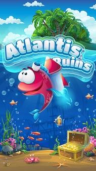 Atlantis ruins gui mobiel formaat. mariene levenslandschap - de oceaan en de onderwaterwereld met grappige vissen.