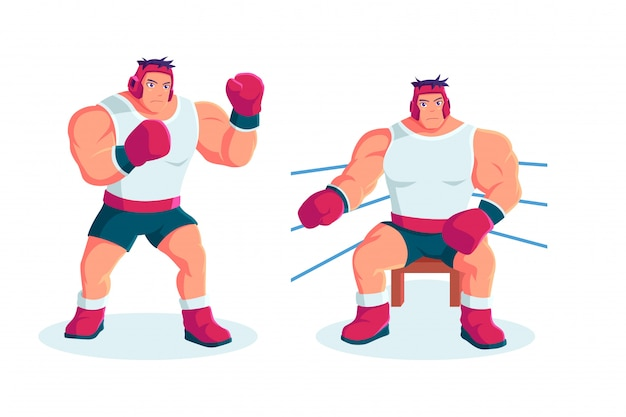Atleet boxing character in cartoon-stijl