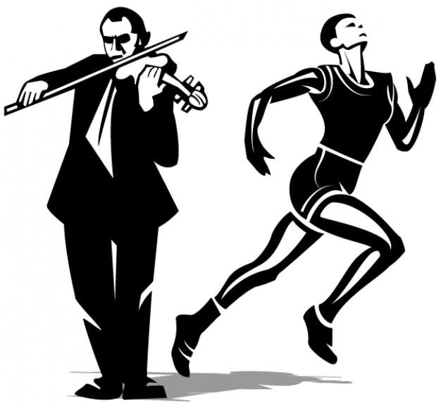 Atleet en violist vector clip art