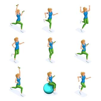 Atleet, gezonde levensstijl. lente beeld van sportvrouw, sportkleding, joggen, springen