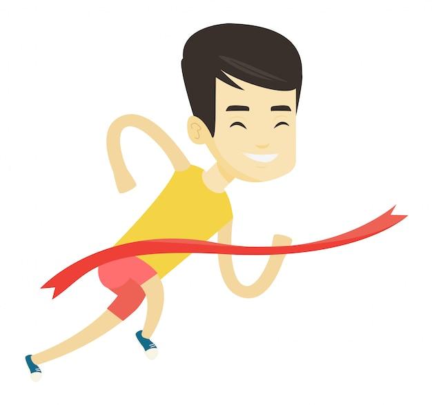 Atleet kruising finishlijn illustratie. Premium Vector