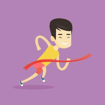 Atleet kruising finishlijn vectorillustratie.