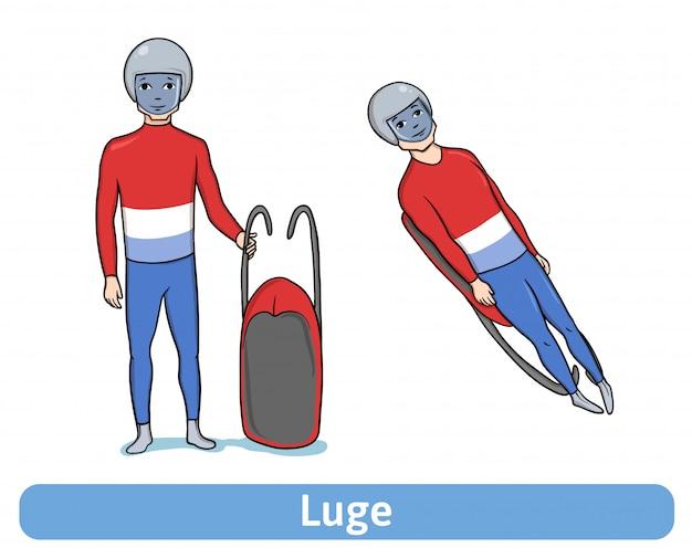Atleet luger. jonge man met slee permanent en in beweging. wintersport, rodelen. illustratie, op witte achtergrond.