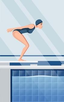 Atleet vrouw in blauwe zwembroek bereiden om te springen in water cartoon karakter ontwerp horizontale lay-out van professioneel zwembad met water zijaanzicht platte vectorillustratie.