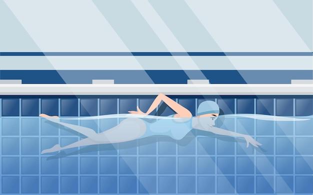 Atleet vrouw in blauwe zwembroek zwemmen in crawl stijl cartoon karakter ontwerp horizontale lay-out van professioneel zwembad met water zijaanzicht platte vectorillustratie