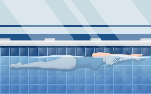 Atleet vrouw in blauwe zwembroek zwemmen in schoolslag stijl cartoon karakter ontwerp horizontale lay-out van professioneel zwembad met water zijaanzicht platte vectorillustratie
