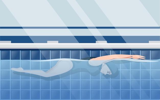 Atleet vrouw in blauwe zwembroek zwemmen in vlinder stijl cartoon karakter ontwerp horizontale lay-out van professioneel zwembad met water zijaanzicht platte vectorillustratie