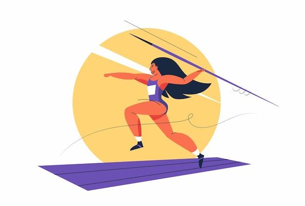 Atleet vrouwelijke atletiek met speerwerpen in stripfiguur