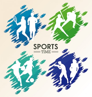 Atleten cijfers silhouetten geschilderd