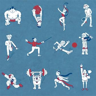 Atleten doodle karakter collectie vector