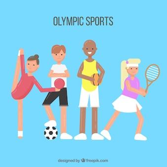 Atleten met sportuitrusting
