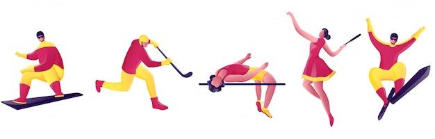 Atletiek personage in verschillende spel poses.