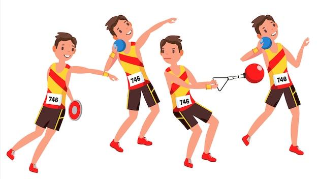 Atletiek speler mannelijke vector. atletische sportcompetitie. sportuitrusting. sprinter. sprint start. geïsoleerde platte stripfiguur