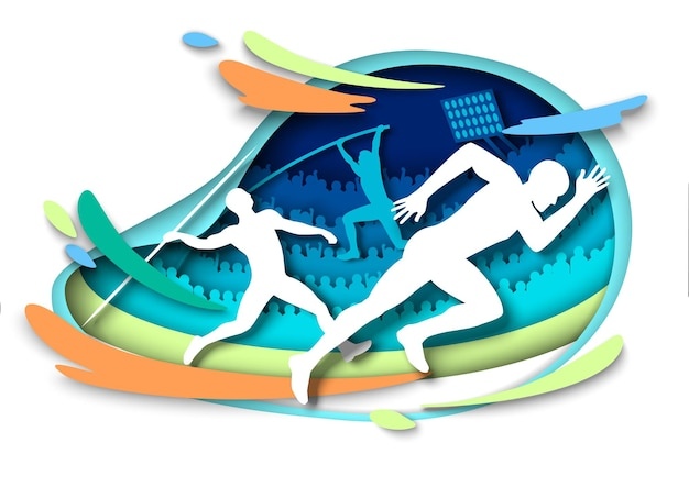 Atletiek sportevenementen atleet silhouetten vector illustratie in papier kunststijl sprints polsstokhoogspringen...