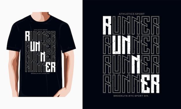 Atletiek sportrunner typografie t-shirtontwerp