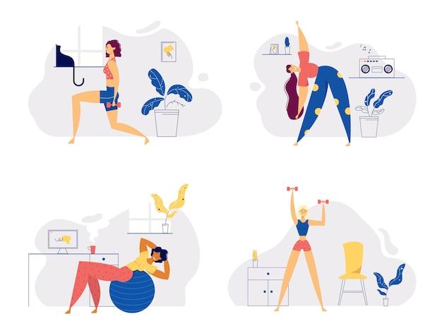 Atletisch vrouwelijk personage fitness thuis uitoefenen