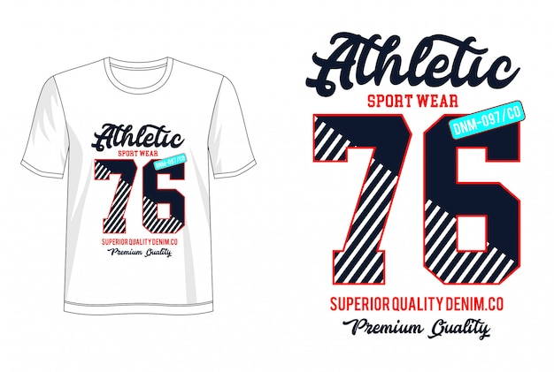 Atletische 76 typografie voor print t-shirt