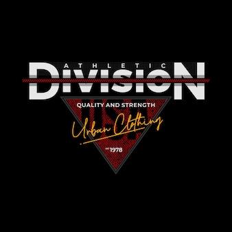 Atletische divisie typografie design accessoires voor t-shirt premium vector premium vector