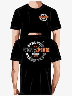 Atletische dream team typografie tshirt ontwerp premium vector