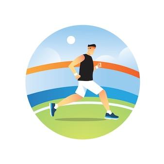 Atletische man loopt om een wereldrecord te breken