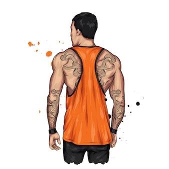 Atletische man met tatoeages.