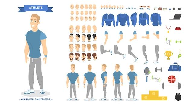 Atletische man tekenset voor animatie met verschillende weergaven, kapsels, emoties, poses en gebaren. school uitrusting set. geïsoleerde vectorillustratie