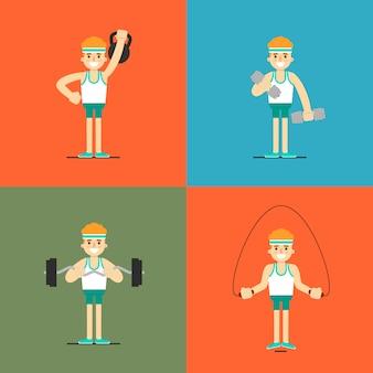 Atletische mens die oefening, illustratiereeks doet