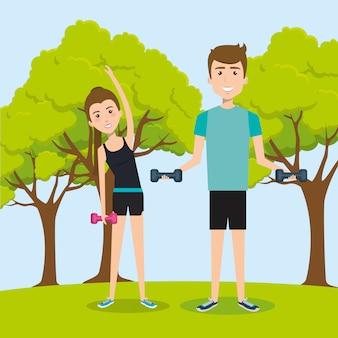 Atletische mensen die oefeningskarakters uitoefenen
