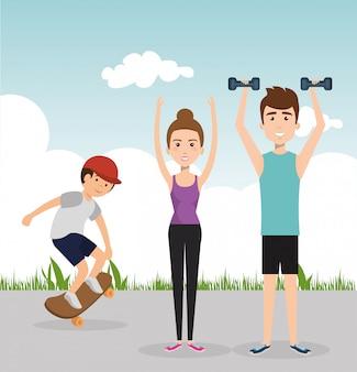 Atletische mensen oefenen oefenpersonages