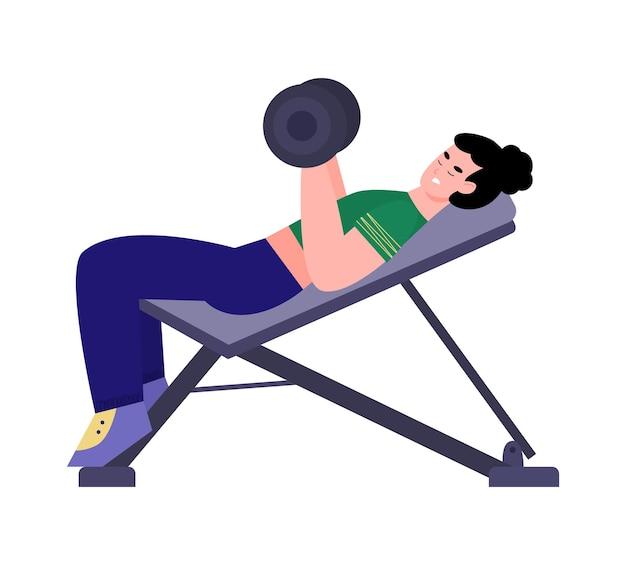 Atletische sportvrouw die halters in de sportschool duwt